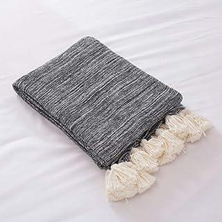 [QIFENGDIANZI]毛布 もうふ 掛け毛布 編み物 綿 北欧風 ふわふわ 軽量 軽い 夏用 エアコン お昼寝 冬暖かい 洗濯可 静電防止 車用 旅用 抗菌・防臭・防ダニ プレゼント 男女兼用 ブラック 130X160cm
