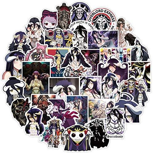 BUCUO Conjunto de Dibujos Animados Anime Overlord Impermeable Doodle Pegatina Vinilo portátil Equipaje calcomanía Graffiti decoración álbum de Recortes para niños 50 Uds