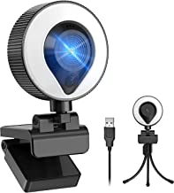 WZS FHD 1080P Webcam with Ring Light & Microphone, Plug and Play Web Camera with Brackets, for PC/Laptop, MAC, Zoom Skype ...