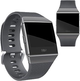 Vicstar Fitbit Ionic 交換ベルト バンド 高級シリコーン製 柔らか ソフト カラフル 超薄 超軽量 接続工具付く 簡単装着 グレー