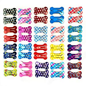 40 Pcs Puppy Cat Dog Hair Clips 1″ Min Bone Clips Multicolor Dog Topknot Bows Dog Grooming Bows Pet Supplies Dog Bows Dog Hair Accessories