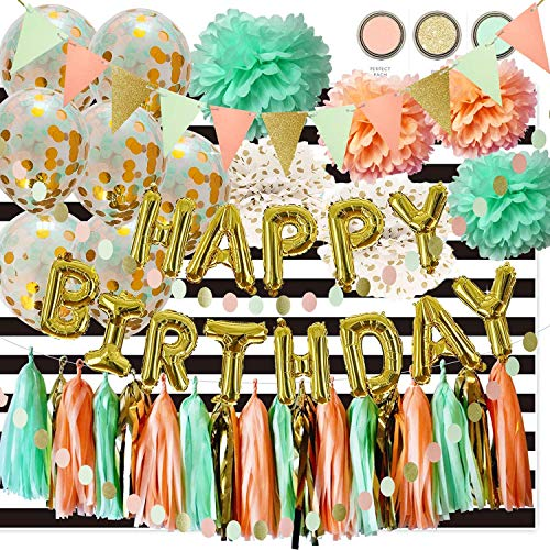 Mint Peach Gold Birthday Party Decorations by Qian's Party Glitter Gold Polka Dot Pom Pom Mint Peach Gold Confetti Balloons/White Black Strip Fabric Background for Girl Wild One Birthday Decorations