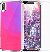 SanLead iPhone Case Quicksand Liquid Noctilucent iPhone case Shock-Absorbing Fall-Resistant and Leak-Proof TPU&PC for iPhone [Noctilucent] (for iPhone Xs MAX, Pink & Purple)