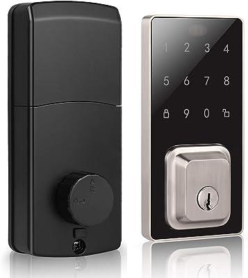 DECORITEN Electronic Deadbolt Touchscreen Keypad Satin Nickel Finish, Keyless Entry Door Lock with Keypad, Smart Door Locks for Home or Office, Code and Keys