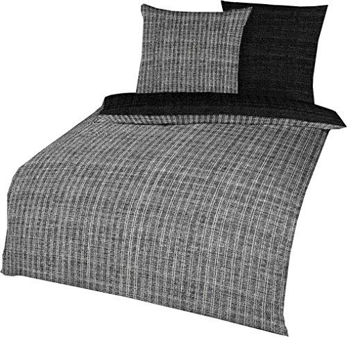 Kaeppel Parure de lit réversible en satin de coton mako Noir/blanc 135 x 200 cm + 80 x 80 cm