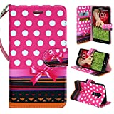 LG G2 Phone, Wallet Card Holder Customerfirst, PU Leather Pouch Flip Fold Style Case Cover with Stand for LG G2 + Vent Mount (AT&T, Sprint, T-Mobile Only) (Pink Dot)