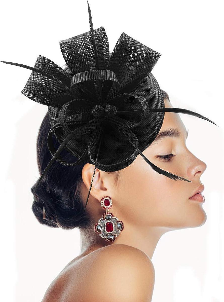 YFWFASH Fascinator Hats Feather Fascinators for Women Pillbox Hat Headband for Wedding Derby Tea Party Race