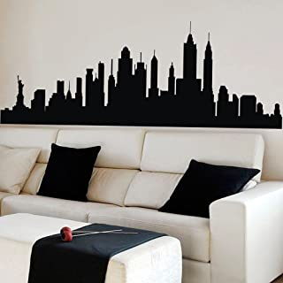 New York City Skyline Wall Sticker Vinyl Ctiy Wall Decor New York Wall Art Skyline Decal Black