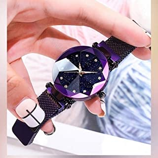 Acnos Black Round Diamond Dial with Latest Generation Purple Magnet Belt Analogue Watch for Women Pack of - 1 (DM-PURPLE08)
