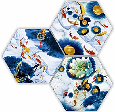 SAF Beautiful Abstract 3 Piece of Hexagon UV Textured Multi-Effect Self adheshive Painting 17 Inch X 17 Inch SANFHX176