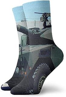 tyui7, Tanques militares verdes y marrones Calcetines de compresión antideslizantes Calcetines deportivos de 30 cm acogedores para hombres, mujeres, niños