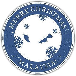 SkyLabel Merry Christmas Malaysia Grunge Travel Bumper Sticker Vinyl Art Decal for Car Truck Van Wall Window (10'' X 10'')