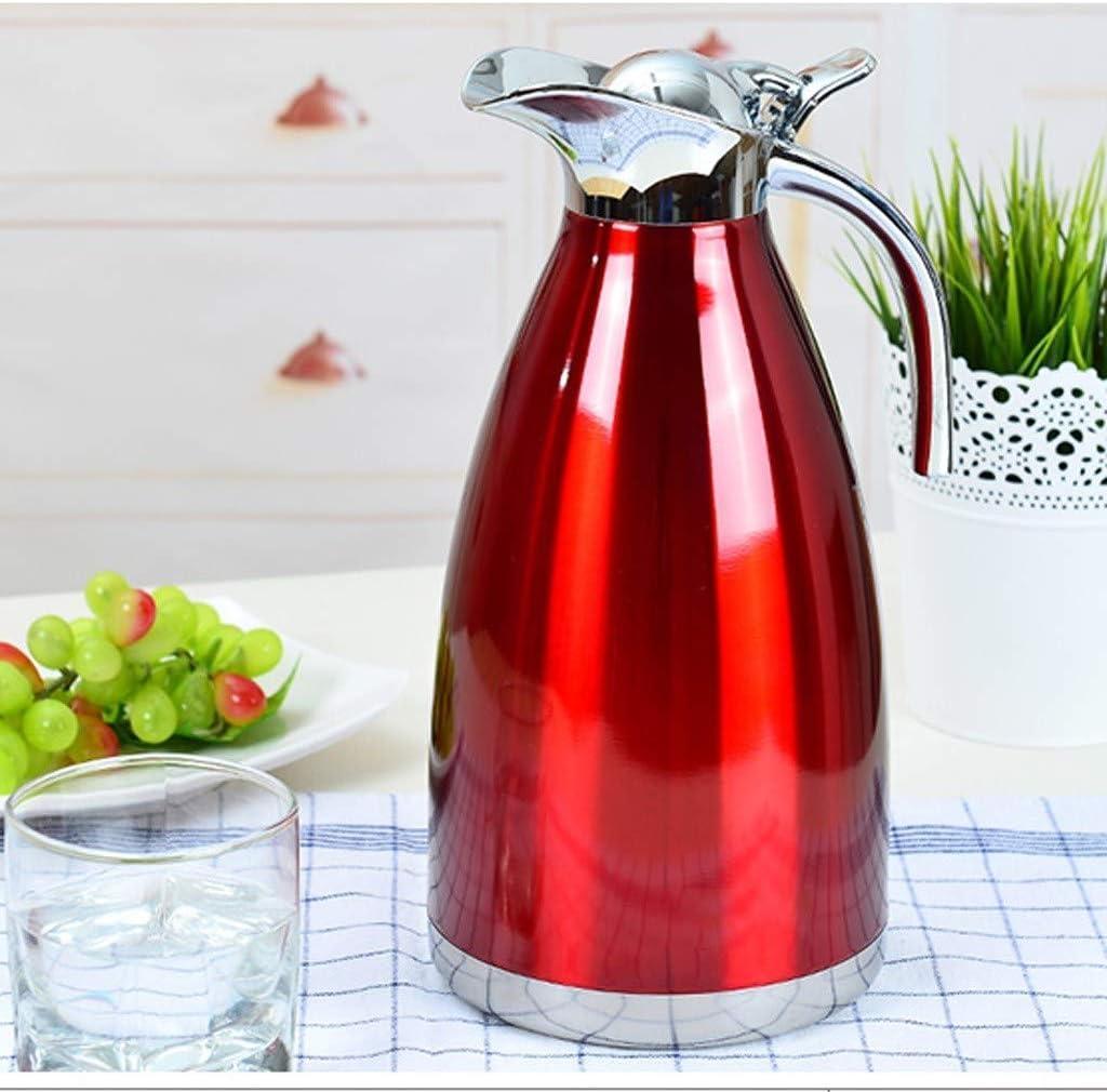 HLJ Cuisinière Bouilloire, Pot Home Insulation Isolation Kettle grande capacité en acier inoxydable 304 Hôtel Bouilloire 2L (Color : Red) Red