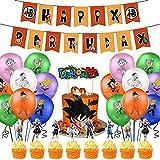 Suministros de fiesta de cumpleaños de Dragon Ball, las decoraciones de Dragon Ball Z incluyen adorn...
