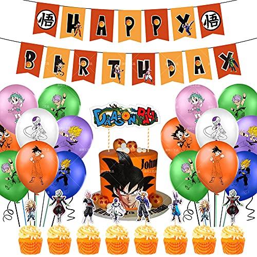 Fournitures de fête d'anniversaire Dragon Ball Z, les décorations de Dragon Ball comprennent des gâteaux, des décorations pour cupcakes, des bannières, des ballons