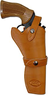 Barsony New Tan Leather Western Style Gun Holster for 6 inch Revolvers