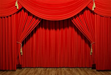Leyiyi 7X5ft Red Cartain Wooden Floor Backdrop Birthday Party Photo Video Studio Prop Background