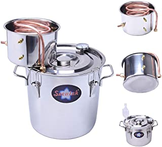 Seeutek 5 Gallon 18 Litres Home Alcohol Water Distiller Copper Moonshine Still Kit Stainless Steel Spirits Boiler, 5Gal, Silver