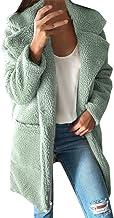 Whear Women Coats Lapel Fuzzy Fleece Overcoats Open Front Long Cardigan Faux Fur Warm Winter Outwear Jackets with Pockets