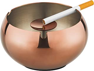 OILP Stainless Steel Cigarette Ashtray Outdoor Windproof Portable Smoke Ashtray for Patio Home(Copper)