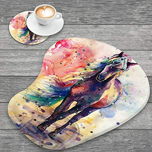 Ergonomic Mouse Pad with Wrist Support and Cup Coaster,Watercolor Horse Non-Slip PU Base Ergonomic Design to Protect Your Wrist for Home Office Working Studying Easy Typing & Pain Relief