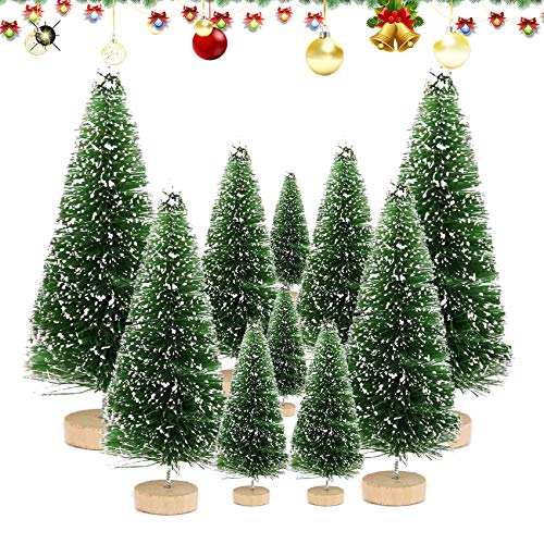 Shengruili 10 Stück Kleiner Weihnachtsbaum,Miniatur Künstlicher Weihnachtsbaum,Mini Weihnachtsbaum,Miniatur Weihnachtsbaum Grün,Tannenbaum,Mini Weihnachts Baum,Weihnachtsbaum Schnee