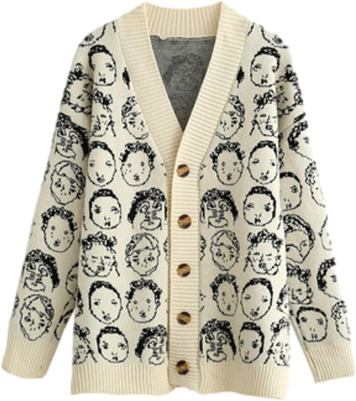 Gothic Vintage Bargain sale Women's Sweater V-neck Bombing free shipping Pri Knitted Cardigan Skull