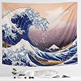 IcosaMro Wave Tapestry Wall Hanging - Hokusai Wall Art with Hemmed Edges, Ocean Sea Wall Blanket Home Decor for Bedroom College Dorm, (The Great Wave Off Kanagawa, 51x60), Orange