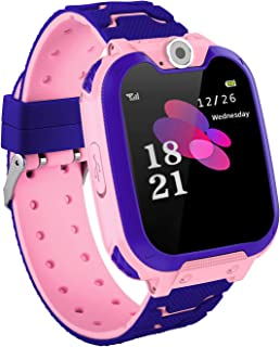 GCARTOUR Kids Waterproof Smart Watch for Girls Boys Students GPS GSM Locator Tracker SOS Phone Call Anti-Lost Game Music SIM TF Card Support (Pink, Free)