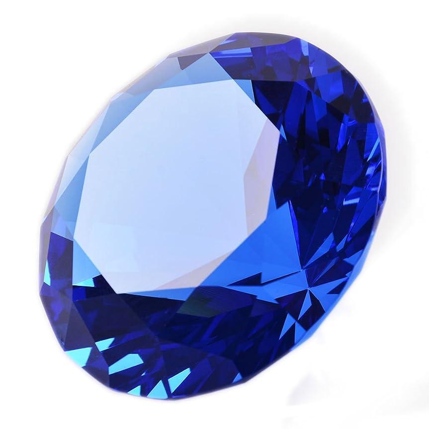 アテンダント眉剥ぎ取る多色透明 水晶 ダイヤモンド 80mm ペーパーウェイト ガラス 文鎮 装飾品 (水色)【ギフトボックス】