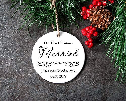 Lplpol 7,6 cm cerchio in ceramica personalizzata Mr and Mrs Ornament Just Married regalo per coppia di sposi novelli per ornamento di nozze il nostro primo ornamento personalizzato casa ornamento