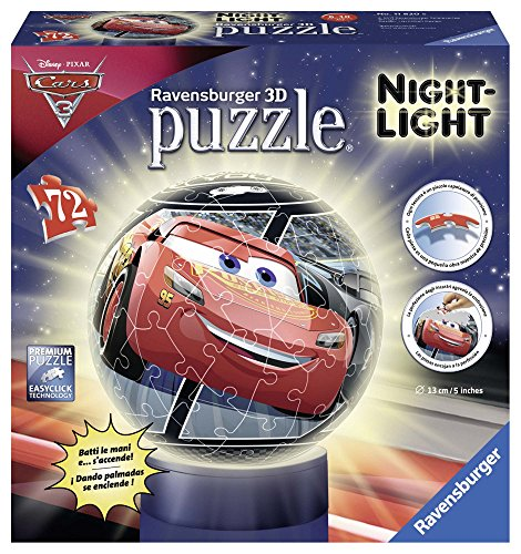 Cars 3 Puzzle Ball 3D Lampe (Ravensburger 11820), Modelle/Farben Sortiert, 1 Stück