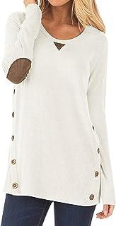 إيمرأة قمصان التونيك وتي شيرتات بجودة عالية مزود بفص منخفض مزود بغطاء علوي مع أزرار هيملاين (اللون: أبيض، المقاس: XXL الحجم)