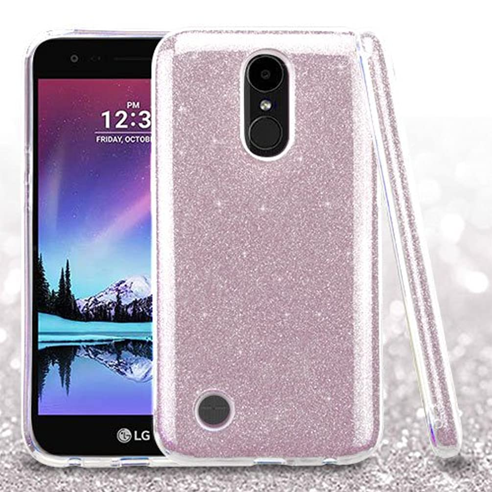 For LG K20 PLUS Case; LG K20V Case, Phonelicious Glitter PCTPU [Lightweight] [Shock Proof] Hybrid Hard Protector Cover [See Through] TPU + Screen Protector + Stylus (PINK GLITTER)