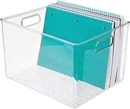 mDesign Plastic Storage Container Bin with Carrying Handles for Home Office, Filing Cabinets, Shelves - Organizer for Scho...