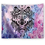 Brandless Galaxy Wolf Tapestry Animal Colorido Starry Night Wall Hanging Moon Star Decoración para el hogar para el Dormitorio Colegio Dormitorio