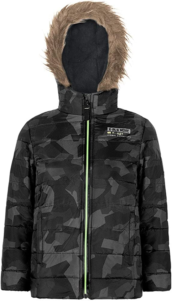 Boys Winter Coat Camo Puffer Active jacket Quilted Hooded Waterproof Outerwear