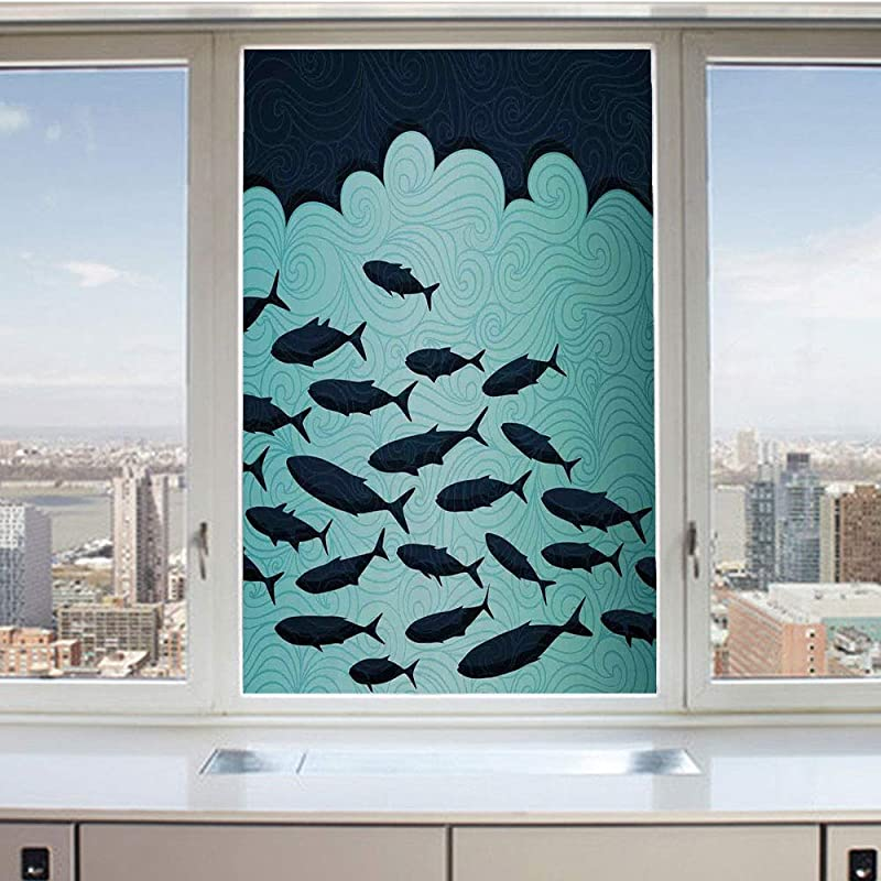 3D Decorative Privacy Window Films Surreal Graphic Ornate Swirl Waves And Group Of Fish Nautical Theme No Glue Self Static Cling Glass Film For Home Bedroom Bathroom Kitchen Office 24x36 Inch