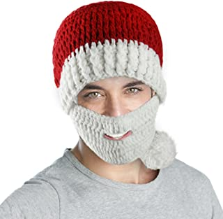 FakeFace Adults Christmas Costume Knitted Santa Beanie Hat with Beard Winter Warm Ski Cap