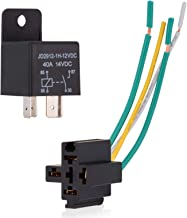 Ehdis Car Truck Relay Socket Harness kit 4 Pin 4 Pre-wired 12V 40 Amp SPST Bosch Style, Automotive Auto Switches & Starters Set, Pack of 1