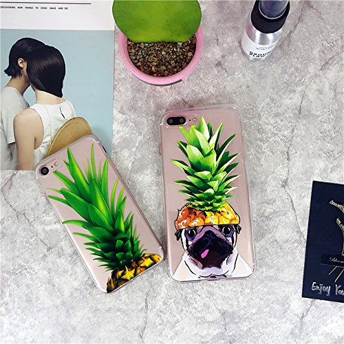 iPhone 7 Plus Case,iPhone 8 Plus Case,Girls Green Pineapple Fruits Hat Pug Pet Dog Funny Upper Pineapple Cute Summer Hipster Hawaii Fruit Clear Case Cover for iPhone 7 Plus/8 Plus Case(5.5')