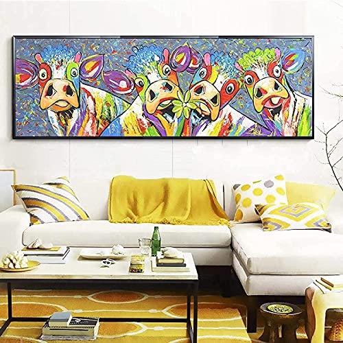 Crazystore Arte de la Pared de la Lona 40x120 cm Pintura Abstracta sin Marco de la Lona impresión de la Vaca Lienzo Animal Arte de la Pared Imagen decoración de la Sala de Estar