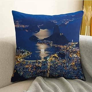 FreeKite Night Printed Custom Pillowcase Aerial View of Mountain Sugar Loaf and Botafogo Rio de Janeiro Decorative Sofa Hug Pillowcase W16 x L24 Inch Violet Blue Marigold Light Grey