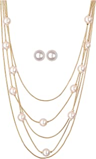 White Pearls Multistand Gold Long Necklace Set with Pearl...