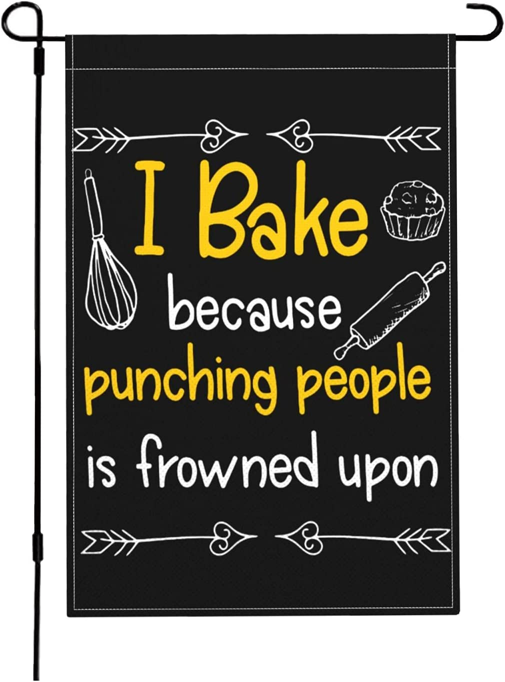 I Bake Because Punching People is Frowned Upon-1 Garden Flag 18x12 Inch, Double Sided Outdoor Yard Garden Flag for Wedding Party House Home Decor