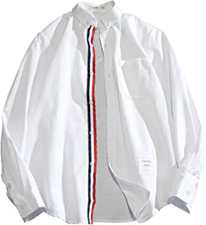 Wishful Primavera y otoño Camisa de Manga Larga de los Hombres Casuales Casual Coreano Oxford Rayado de Negocios Camisa de...