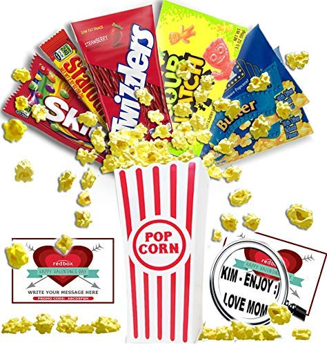 Amazon Com Personalized Happy Valentine S Day Movie Night Gift Basket Butter Popcorn Concession Stand Candy And 2 Customized Gift Cards For Free Redbox Movie Rentals Your Special Message Chocolate Grocery