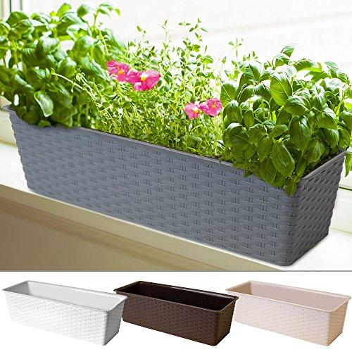 Blumentopf | Weiß | Polyrattanoptik | witterungs- und UV-beständig | für Innen- und Außenbereiche Blumenkasten Balkonkasten