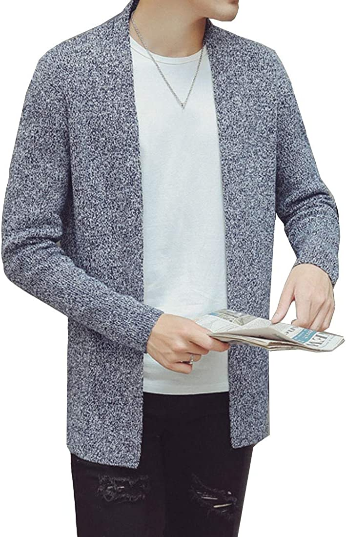 LuckyBov Knitted Open Front Cardigan Non-Button Solid Casual Warm Sweater