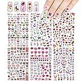 540+(6 Fogli) Fiori Farfalla Adesivi per unghie Decalcomanie, VETPW 3D Autoadesivi Nail Art Stickers Adesivi Decals con Modella Butterfly Rose Love Heart Lips Kiss per Le Unghie Fai-da-te Decalcomanie